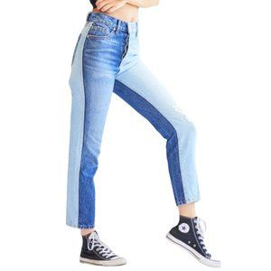 Revice Two Toned Distressed Jeans High Rise Crop